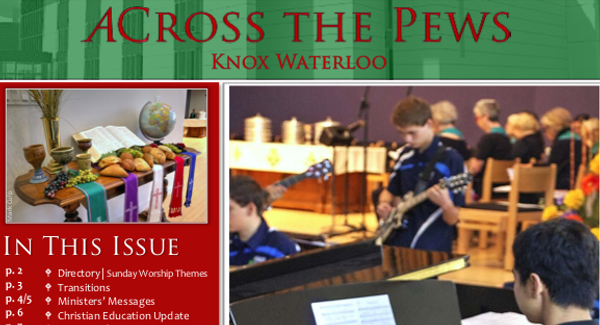 Image of the December ACross The Pews Newsletter front page